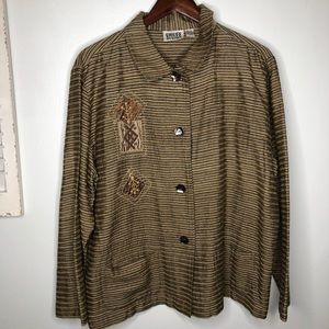 CHICO'S 100% SILK STRIPED EMBROIDERED JACKET XL